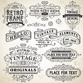 Set of vintage frames and design elements with text placements.  EPS10 file contains transparencies.  Hi res jpeg and AI9 file included.  Scroll down to see more illustrations linked below.