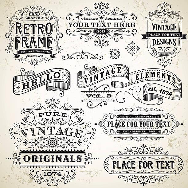 ilustrações, clipart, desenhos animados e ícones de quadros vintage e elementos de design - antiguidades