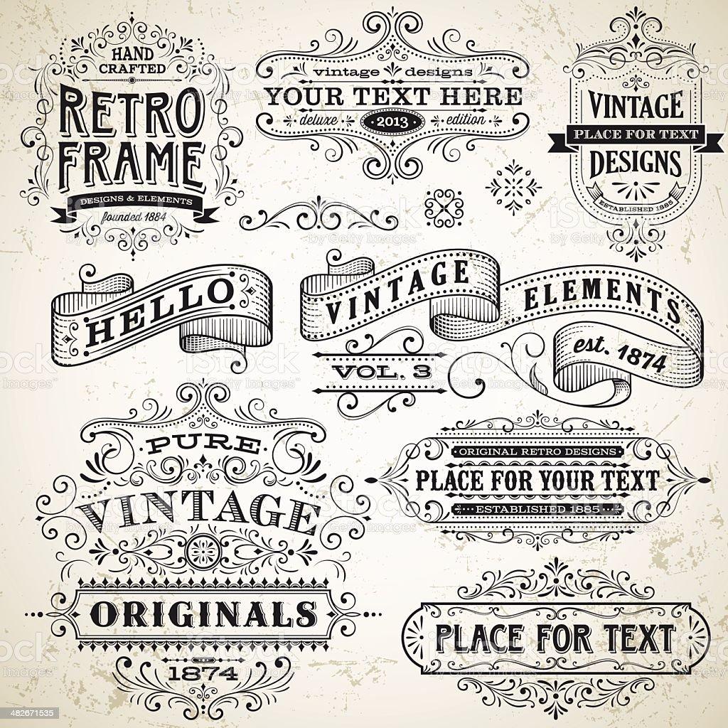 Quadros Vintage e elementos de Design - ilustração de arte em vetor