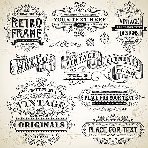 vintage frames and design elements - antika stock illustrations