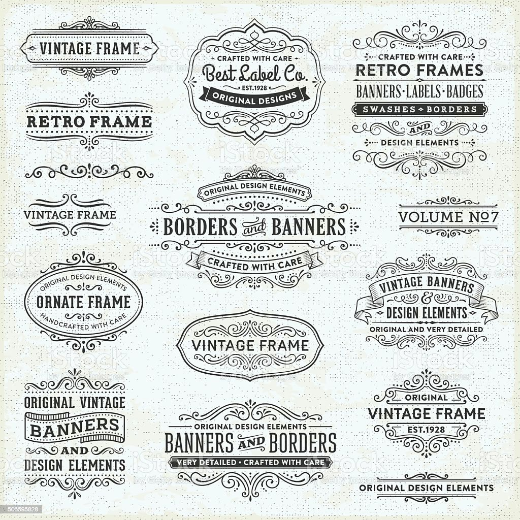Vintage Frames, Banners and Badges vector art illustration