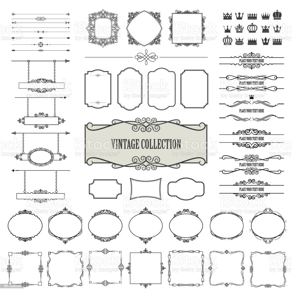 Vintage frames, diviseurs, enseignes mega ensemble. - Illustration vectorielle