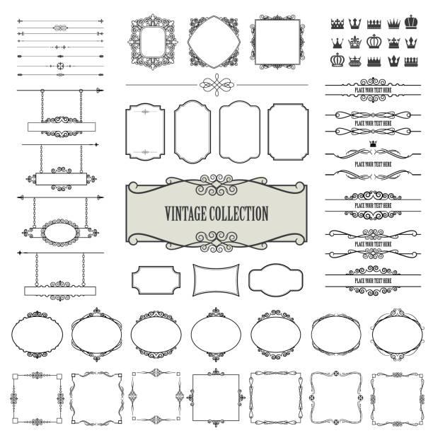 ilustraciones, imágenes clip art, dibujos animados e iconos de stock de marcos vintage, separadores, letreros mega set. - bordes decorativos