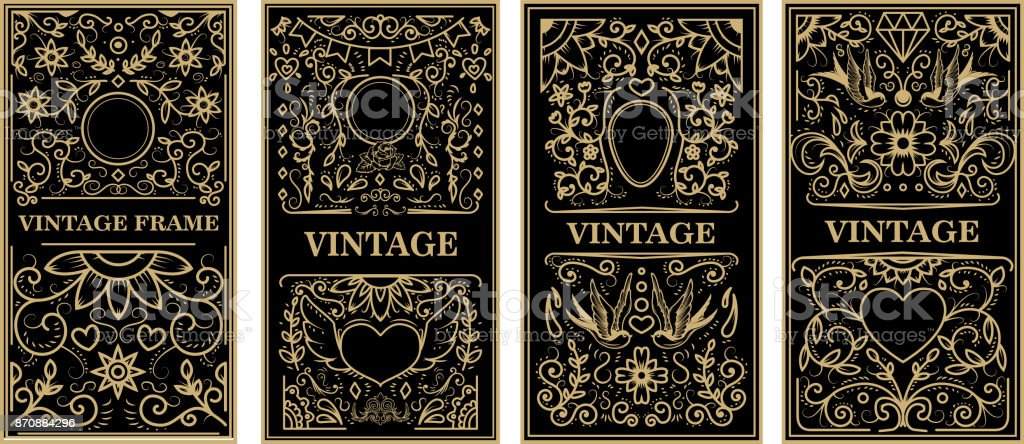 Vintage frames in golden style on dark background. Vector design element vector art illustration