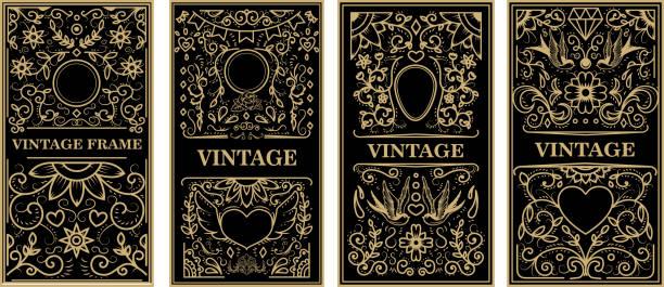 vintage-rahmen im goldenen stil auf dunklem hintergrund. vektor-design-element - gartenskulpturkunst stock-grafiken, -clipart, -cartoons und -symbole