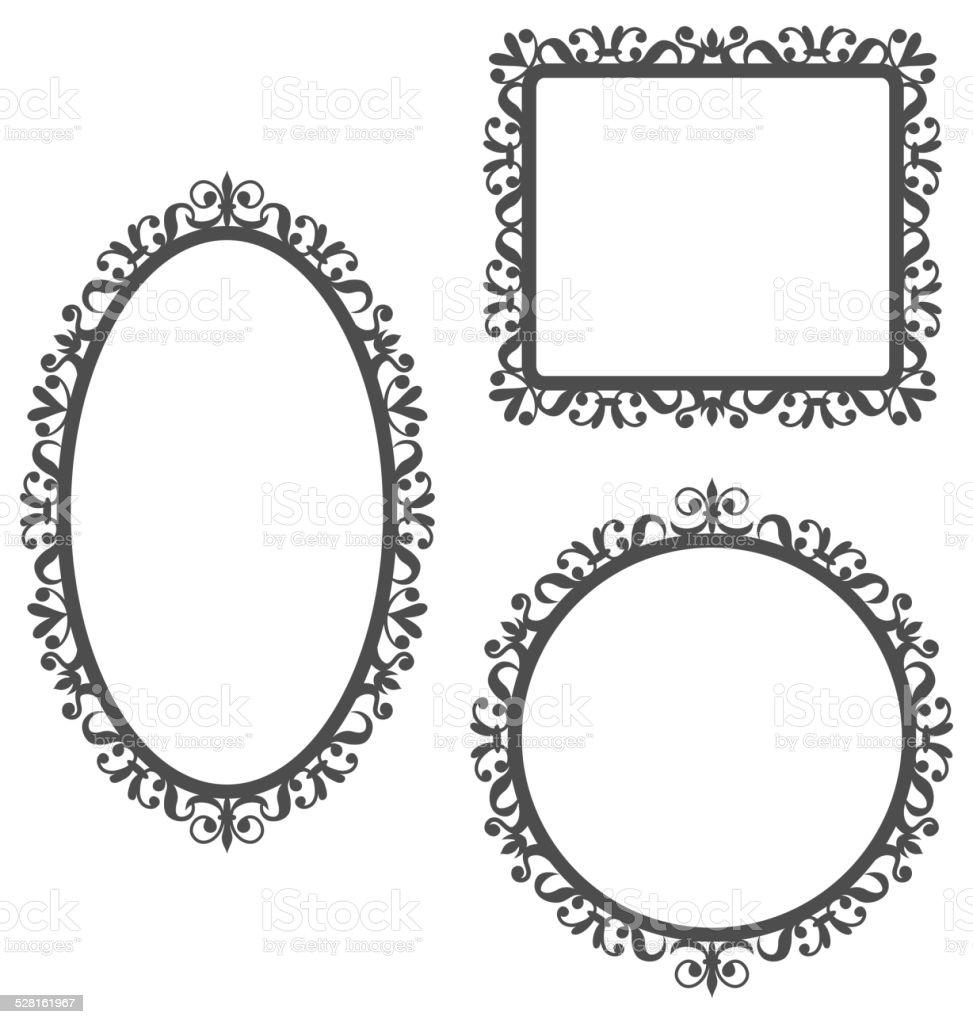 vintage frames isolated on white vector art illustration