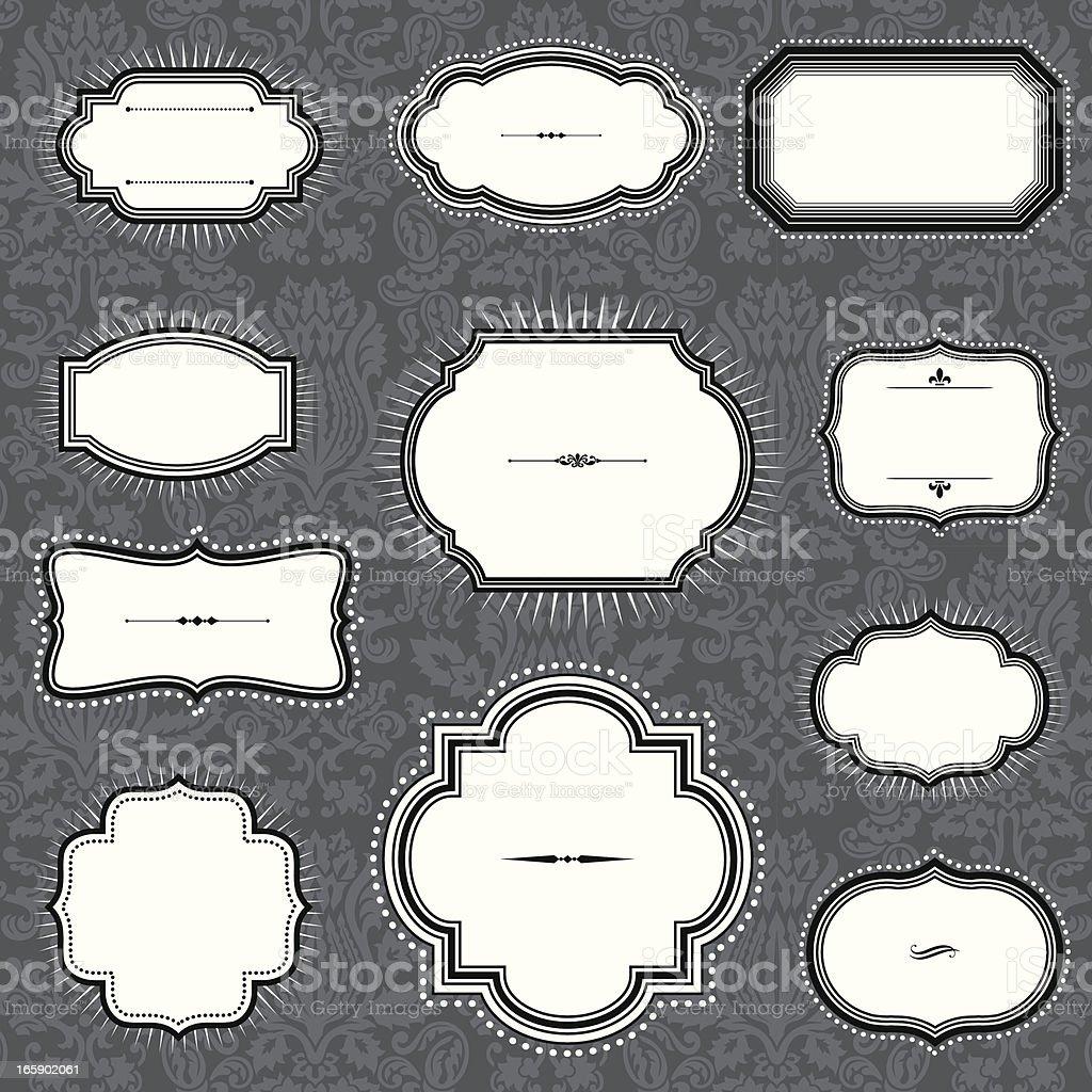 Vintage Frames on Damask Background vector art illustration