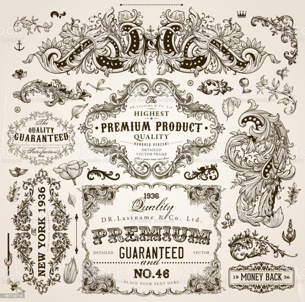 Vintage Rahmen und Scroll-Elemente und floralen Ornamente – Vektorgrafik