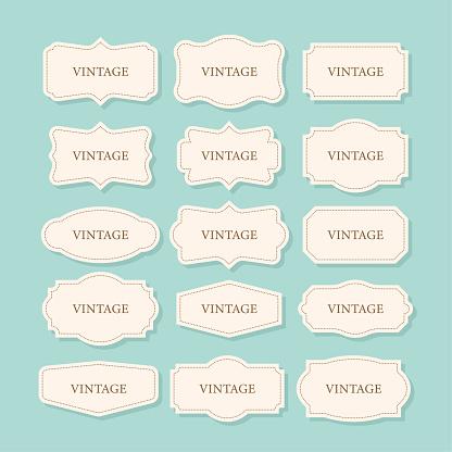 Vintage Frames Set, clipart bundle. Retro collection for decorative design. Frame Retro collection for decorative design. Vector stock illustration.
