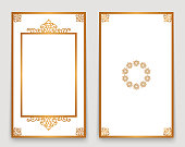 Vintage frames with gold border pattern