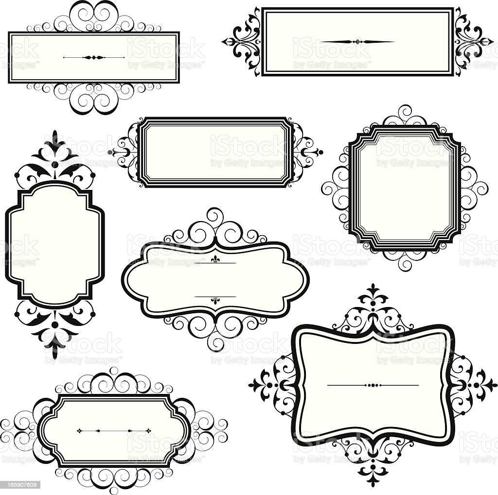 Vintage Frames with Scrolls royalty-free stock vector art