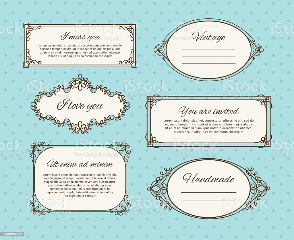 Vintage frames with text vector art illustration