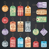 Vintage free price tag vector web collection. Free sale tag label for price and offer shopping illustration