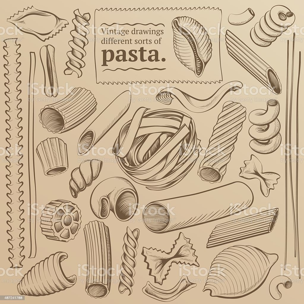Vintage Freehand Drawings of Pasta vector art illustration