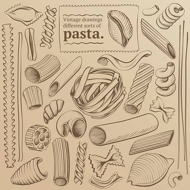 Vintage Freehand Drawings of Pasta Set of vintage illustrations kinds of pasta: freehand drawing contours. vermicelli stock illustrations