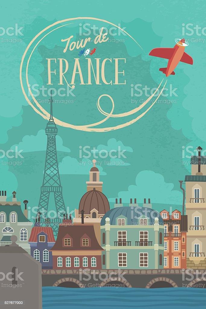 Vintage French Cityscape Poster vector art illustration