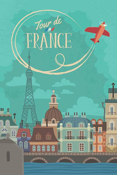 bildbanksillustrationer, clip art samt tecknat material och ikoner med vintage french cityscape poster - paris
