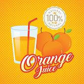 Orange juice vector. Vintage orange label design. Retro orange poster design. Vintage fresh orange juice vector illustration