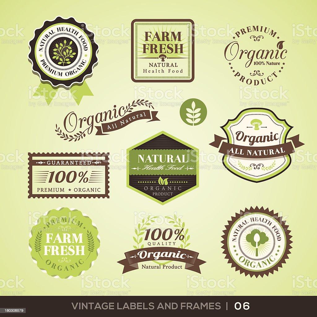 Vintage Fresh Organic Product Labels and Frames vector art illustration