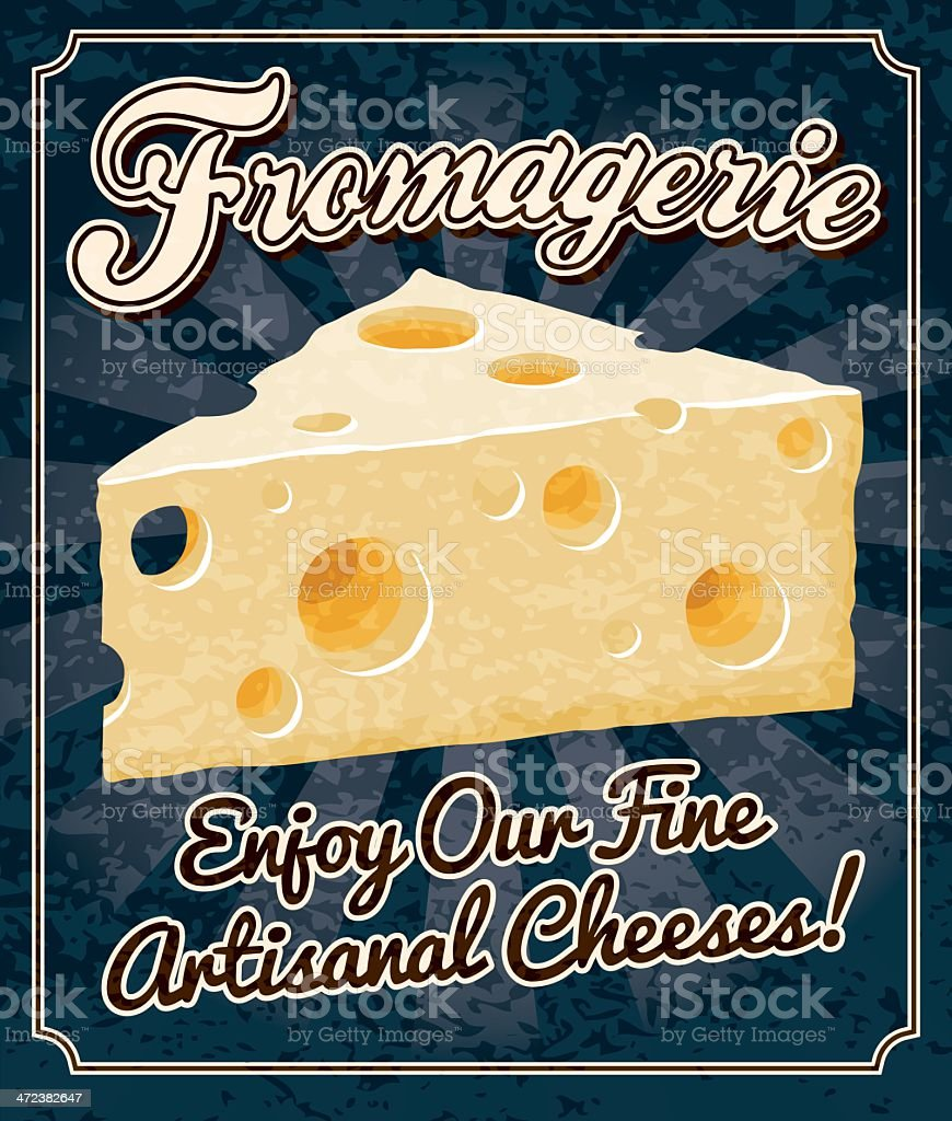 Vintage Fromagerie Poster vector art illustration