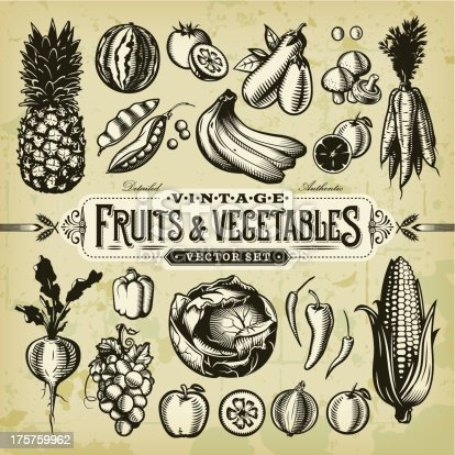 A collection of black and white, vintage-styled fruit and vegetables set. EPS 10 file, layered & grouped, with meshes and transparencies (shadows & overall effects only).