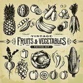 Vintage Fruits & Vegetables Set
