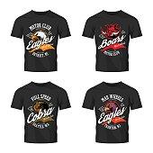 Vintage furious eagle, boar, cobra bikers club tee print vector vector design isolated on black t-shirt mockup.