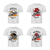Vintage furious eagle, boar, cobra bikers club tee print vector vector design isolated on white t-shirt mockup.