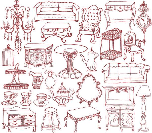 ヴィンテージ家具やアクセサリー。手描きのイラスト。 - ロココ調点のイラスト素材/クリップアート素材/マンガ素材/アイコン素材