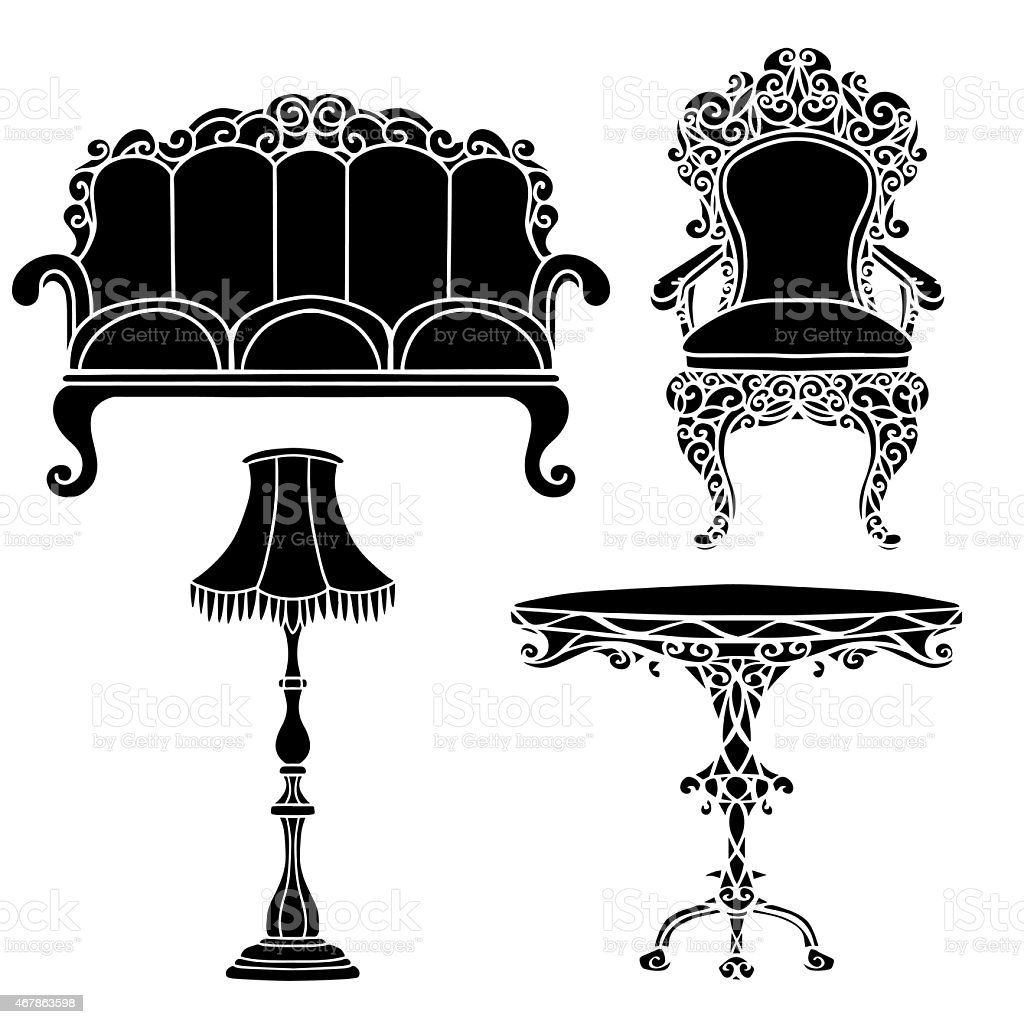 Vintage furniture set, armchair, sofa, table, floor lamp vector art illustration