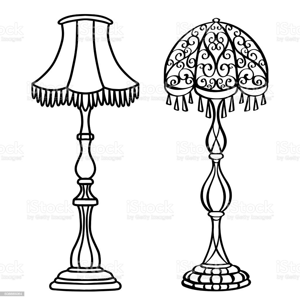 floor lamp clipart black and white. vintage furniture set, floor lamps closeup royalty-free stock vector art lamp clipart black and white 0