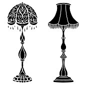 Stehlampe clipart  Vintage Furniture Set Floor Lamps stock vector art 467498152 | iStock