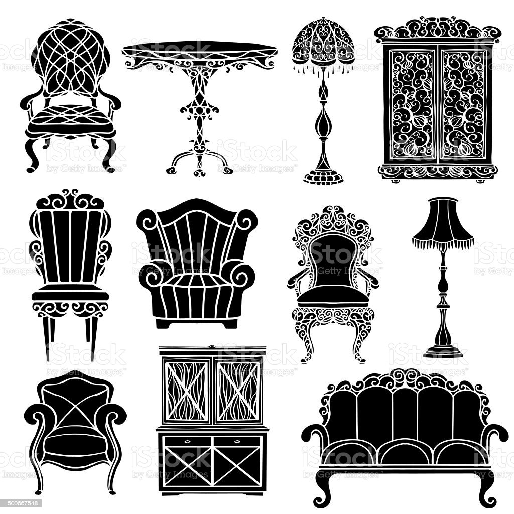 Vintage Furniture Set Stock Vector Art& More Images of 2015 500667548 iStock