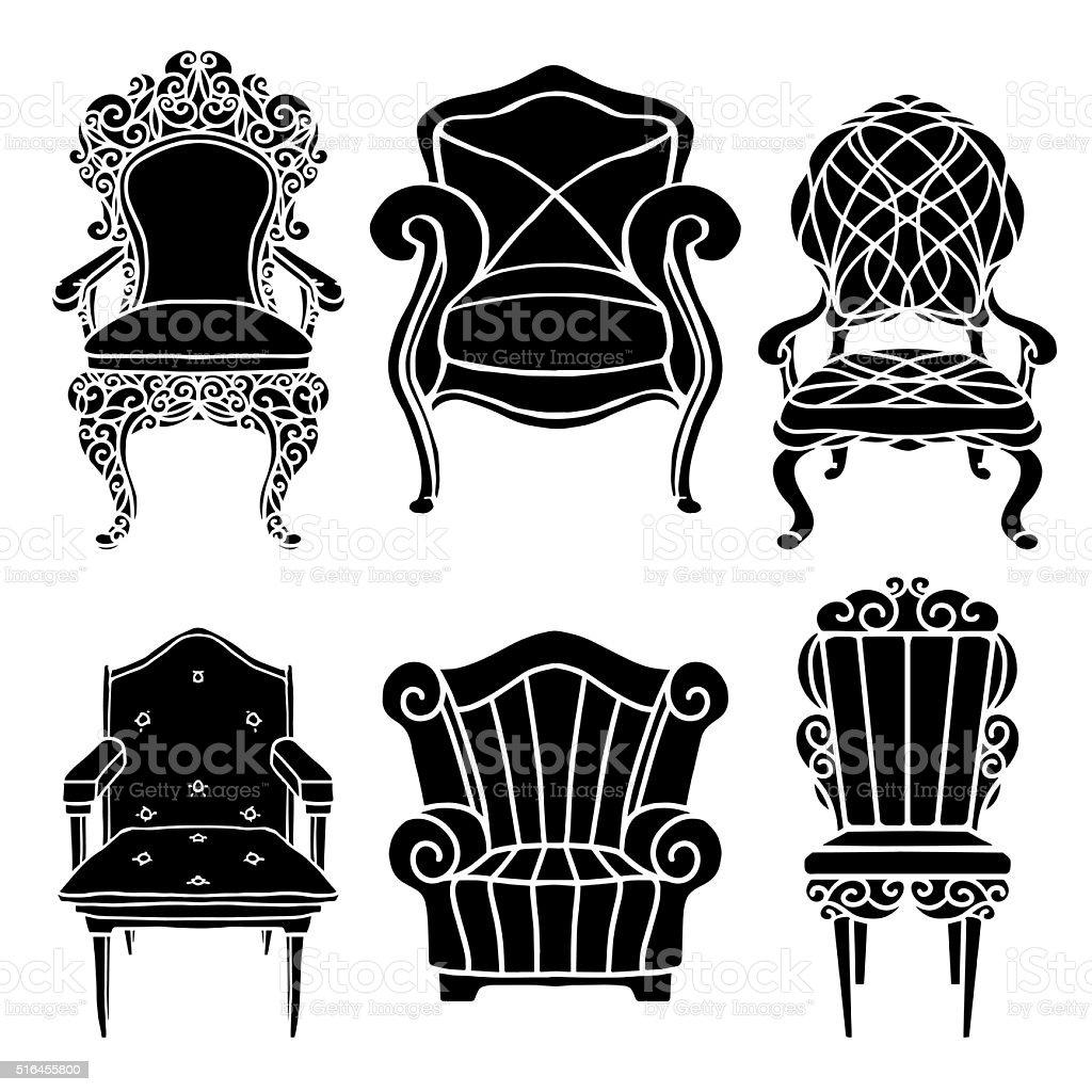 Vintage furniture set vector art illustration