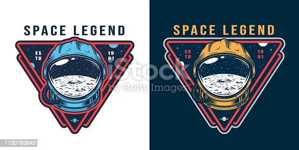 Vintage galaxy colorful label with moon surface and space stars in cosmonaut helmet isolated vector illustration