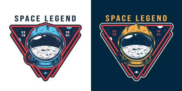 Vintage galaxy colorful label Vintage galaxy colorful label with moon surface and space stars in cosmonaut helmet isolated vector illustration moon surface stock illustrations