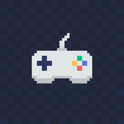 Vintage gamepad on transparent background. Pixel art style joystick vector illustration.
