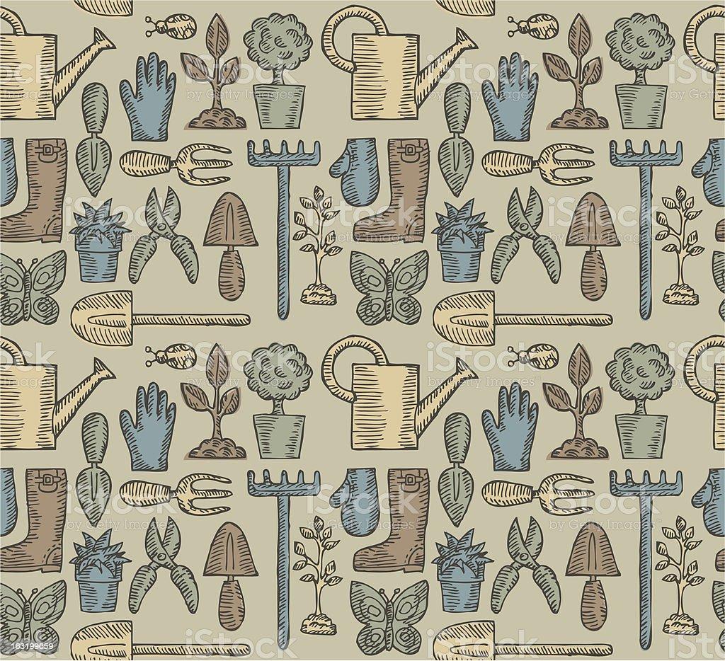 Vintage Garden Pattern vector art illustration