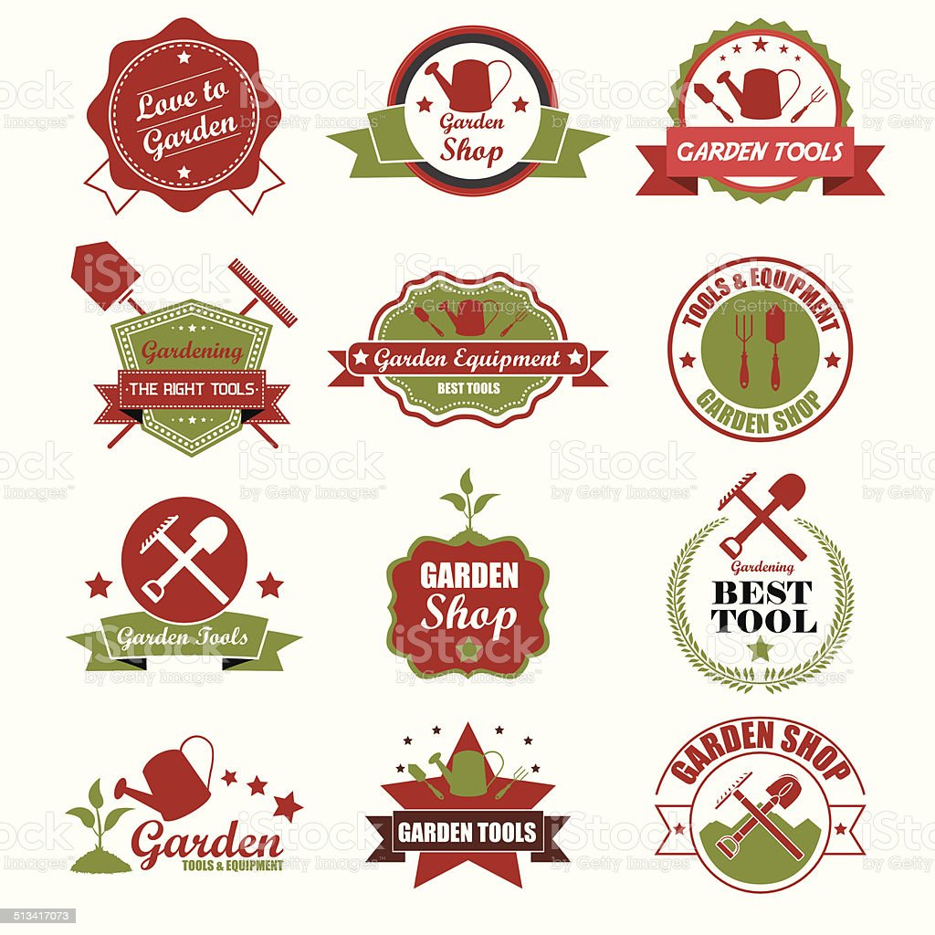 Vintage-Gartenarbeit Symbole, Etiketten und Abzeichen.  Vektor-Illustration e – Vektorgrafik