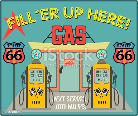 Vintage gas station sign route 66 grungy retro style vector illustration. No commercial reference, fictional artwork.