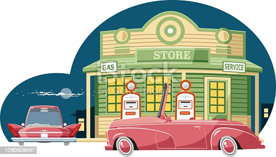 Easy editable vintage  gas station vector illustration...