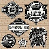 Vintage gasoline labels