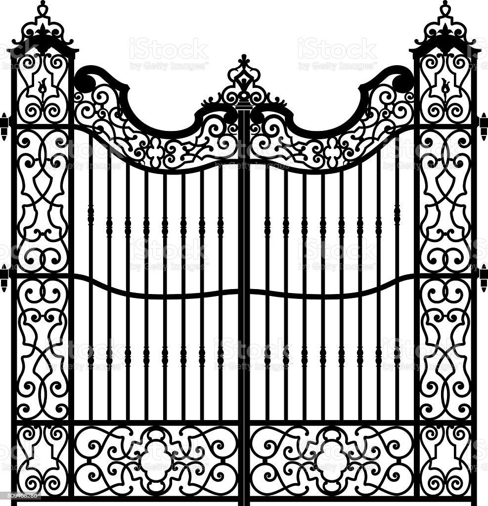 vintage gate vector art illustration