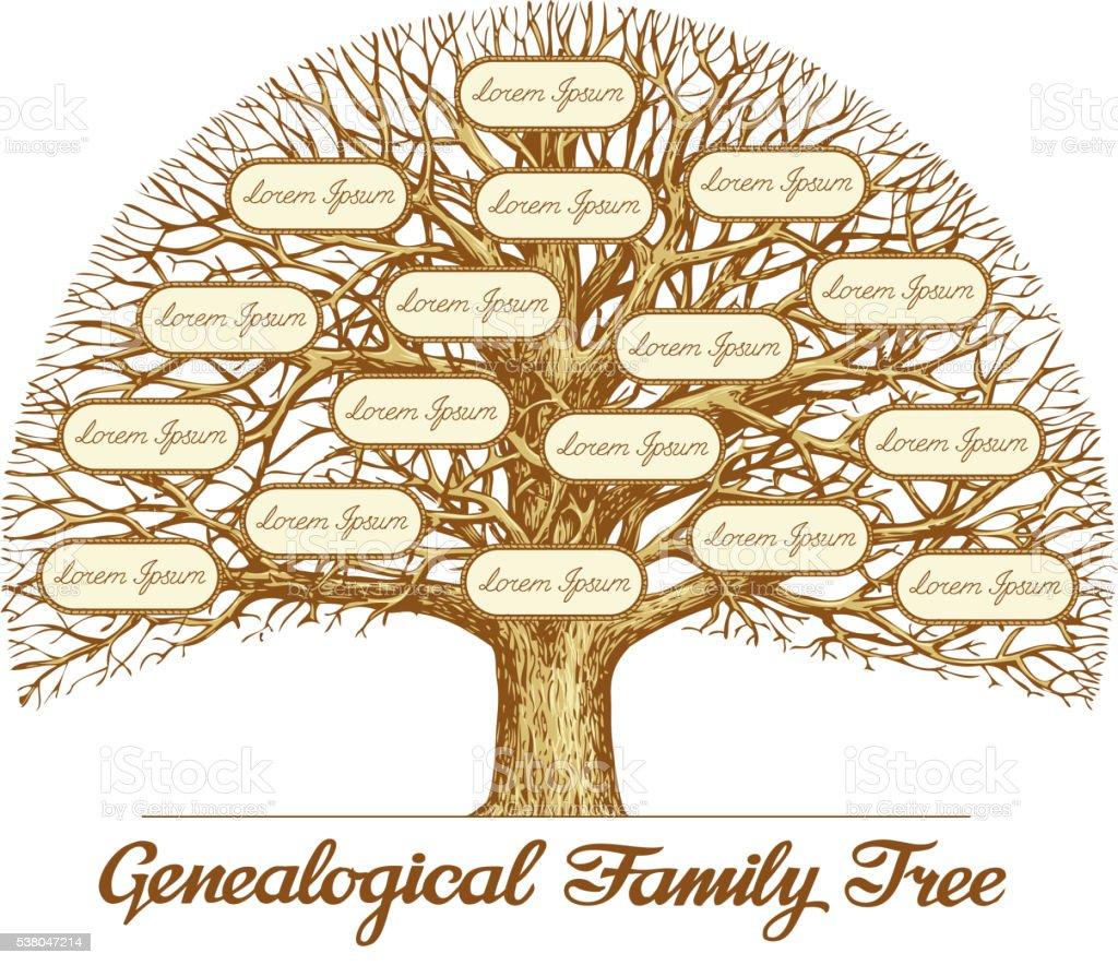 Vintage genealógico de árbol familiar. Dibujado a mano boceto ilustración de vectores - ilustración de arte vectorial