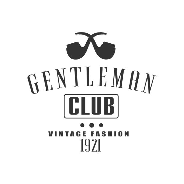 vintage gentleman club label design - 1920 1929 stock illustrations