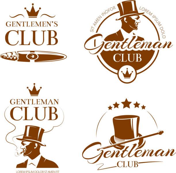 ilustrações, clipart, desenhos animados e ícones de cavalheiro emblems vetor vintage club, etiquetas, emblemas - moda urbana