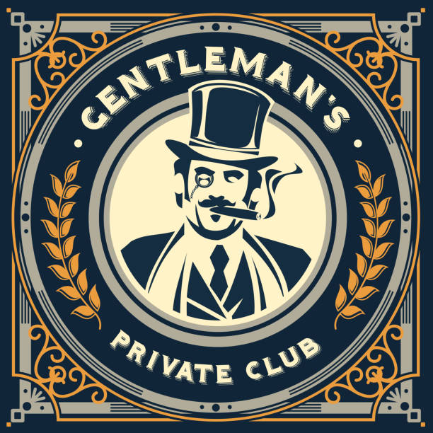 stockillustraties, clipart, cartoons en iconen met vintage gentleman emblem, signage - guy with cigar