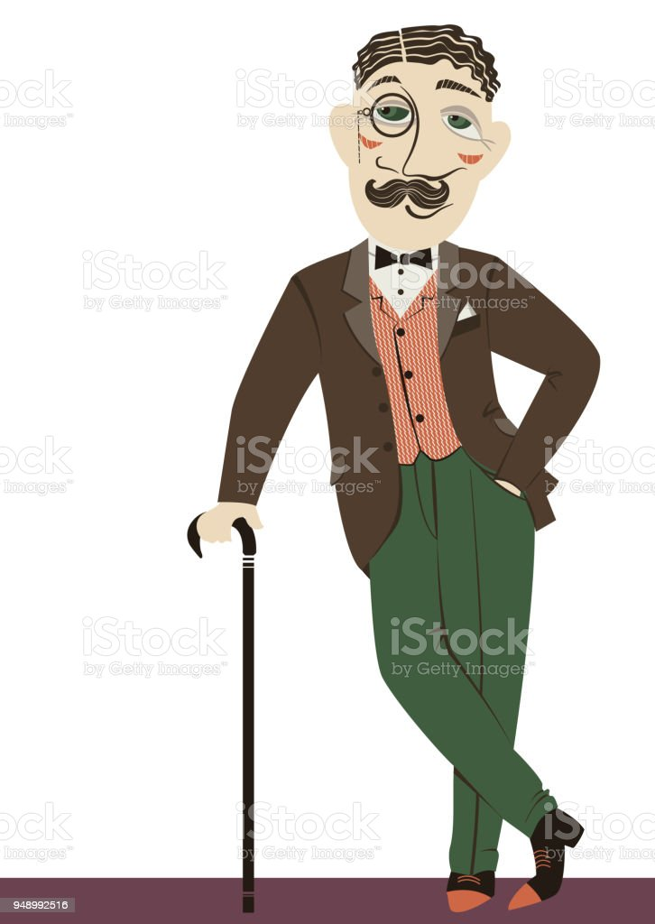Vintage gentleman with cane.Vector man isolated on white vector art illustration