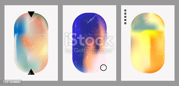 istock Vintage geometric illustrations with different shapes, gradients, tints, fluids. 1297638662