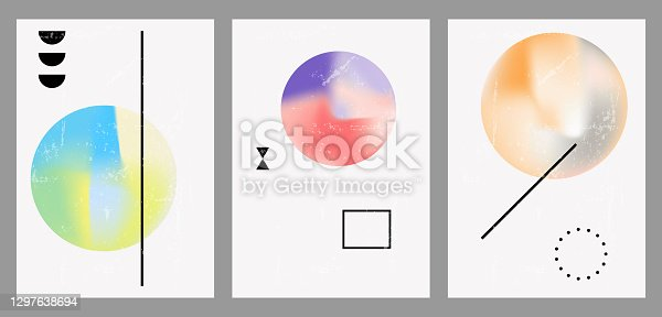 istock Vintage geometric illustrations with different shapes, gradients, tints, fluids. 1297638694